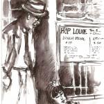 Film Noir sketching, China Town LA California